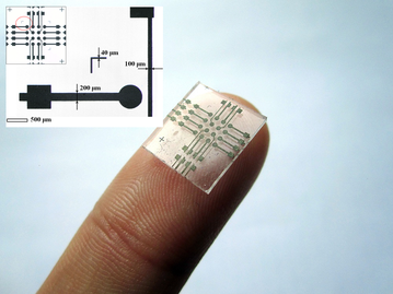 Fabricated high-resolution flexible and stretchable electronic circuit with a minimum width of 40 micrometer.